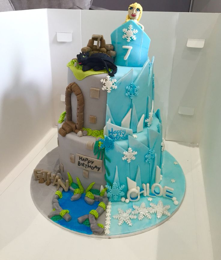 Frozen meets How to train your Dragon Cake