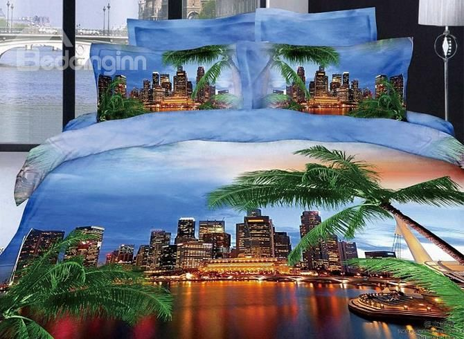 Modern City And Palm Tree Reactive Printing Blue Color 4
