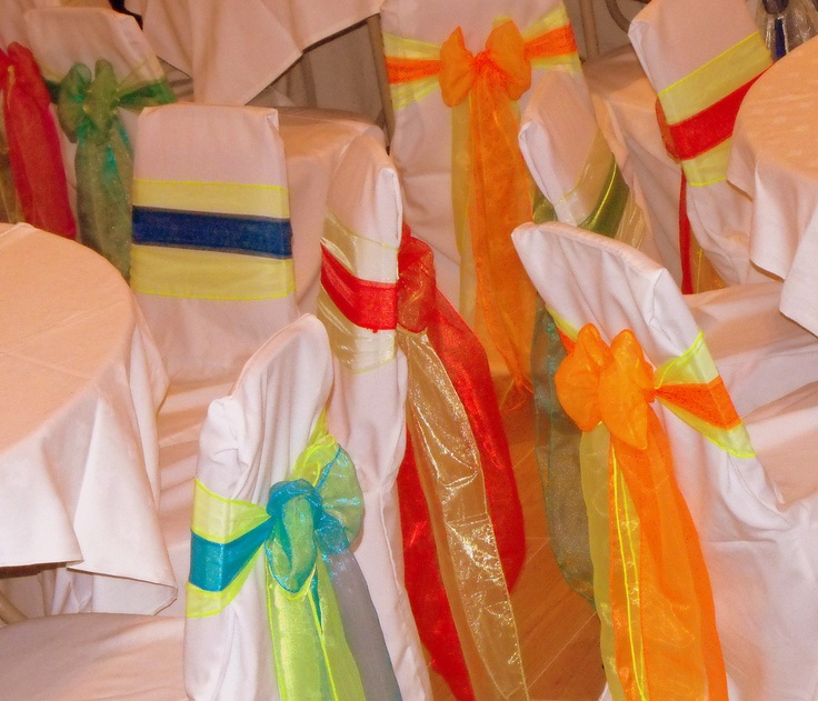 Bright Mixed Double Organza Bows on White Chair Covers