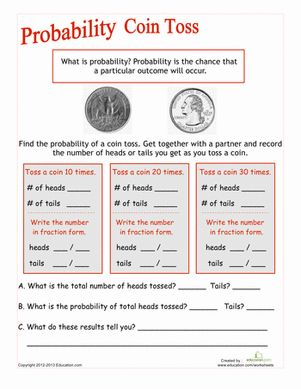 Coin Toss Probability | Worksheet | Education.com