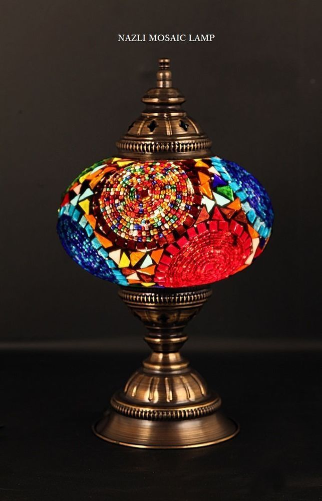 Mosaic Table Lamp Stained Glass Shade Turkish Light Moroccan Lamp