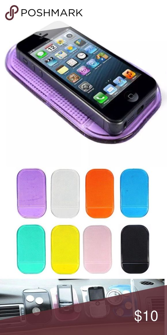🆕 2 for $10 ❣️Anti Non Slip Mat ❣️(Purple) Holds Objects on Dash Washable, Removable, Reusable Temperature Resistant Non-Magnetic Secure mobile phones, coins, sunglasses, MP3 Players, and ipods on any unpainted dashboard, with the new and improved Hand stands' sticky pad Designed to prevent slipping and sliding, the Sticky Pad is the perfect accessory to complement the dash, and secure all hand held devices.  Size: 14.5 x 8cm (L x W) Packet included:  1 x Magic anti-slip Non-slip mat Other