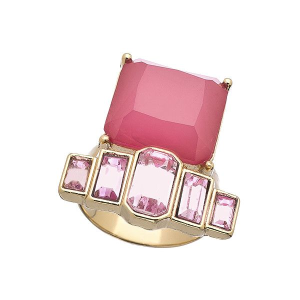 Shameless Jewelry Gold and Pink Art Deco Ring ($48) ❤ liked on Polyvore featuring jewelry, rings, pink jewelry, adjustable rings, swarovski crystal rings, graduation jewelry and cushion-cut rings