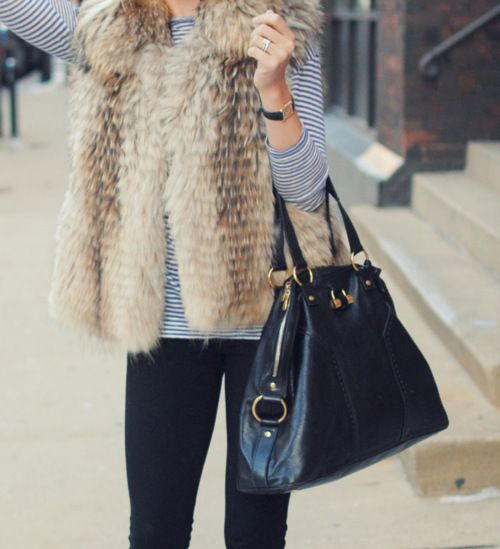 : Dreams Closet, Style, Clothing, Weekend Outfits, Stripes Shirts, Bags, Fur Vest, Fur Gilet, Fall Essential