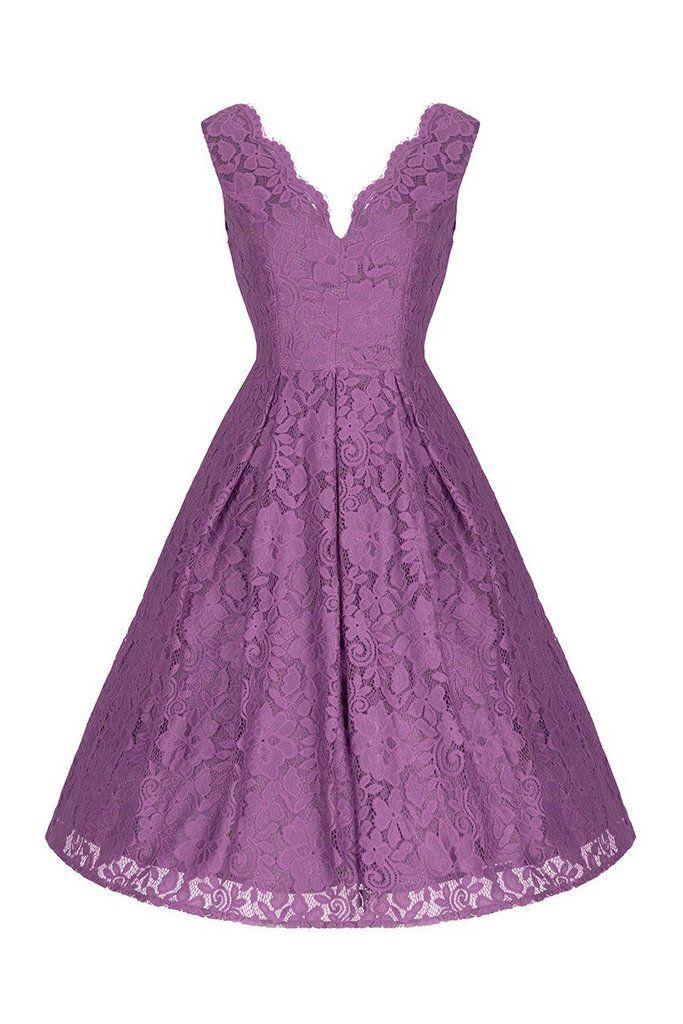 Dark Mauve Purple Embroidered Lace Sleeveless V Neck 50s Swing Dress