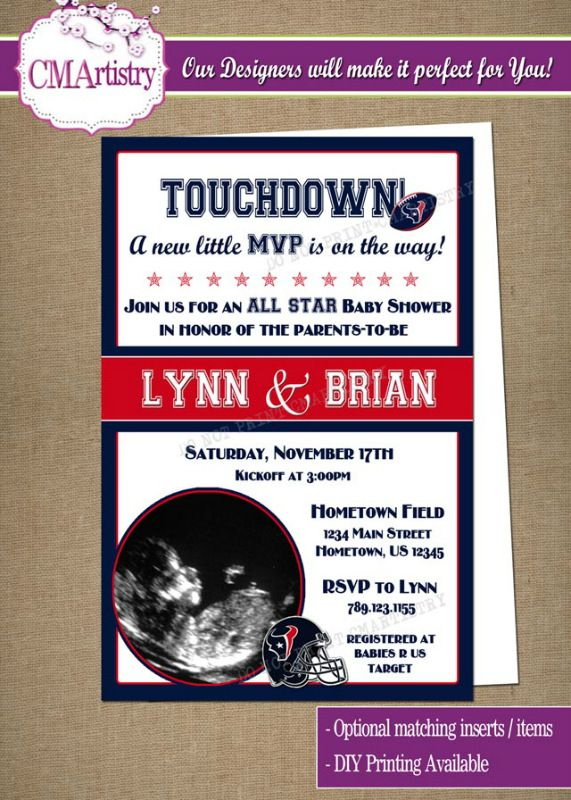 Personalized NFL Texans Football Baby Shower Photo Invitations **Need them today? DIY Printing Available**