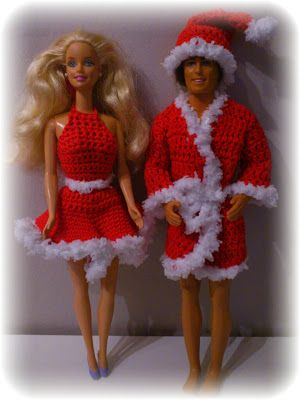 These cute Barbie and Ken outfits ( which I would make longer )  are Free Patterns ( they are written in a foreign language...all you need to do is use Google Translation BUddy to translate to English...when I did it...the instructions were easy !