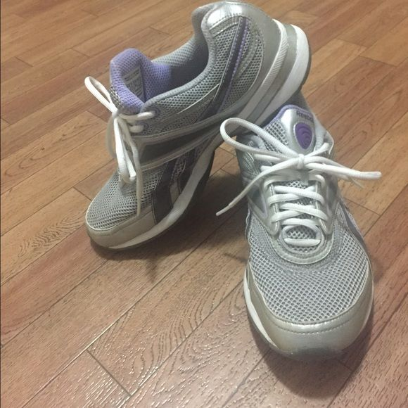 Ladies Reebok Easytone These nice pair of grey and lilac tennis shoes have been worn twice. They are very comfortable as well as supportive. There is nothing wrong with them. They are a size 8. Bundle discounts given. Reebok Shoes Athletic Shoes