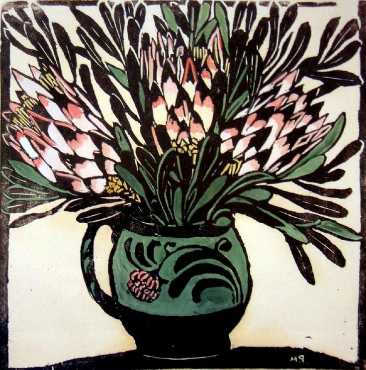 Protea Hand coloured woodblock, 1925,
