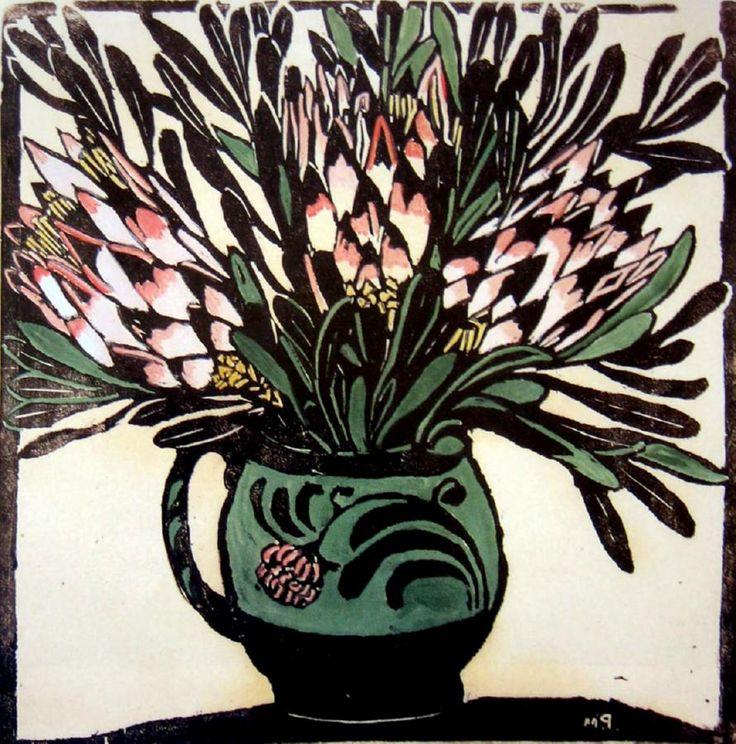 Protea  Hand coloured woodblock, 1925,