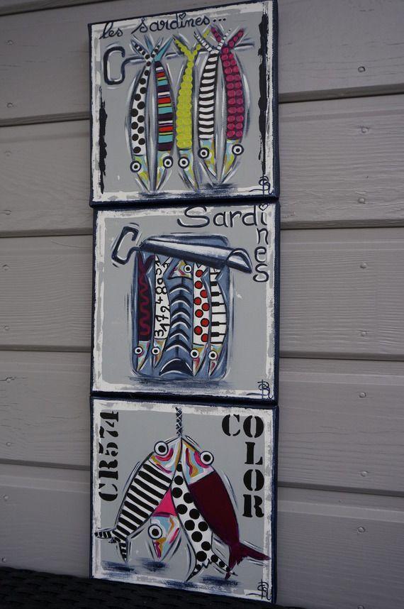 Id e relooking cuisine tableau sardines peinture color e for Cuisine coloree moderne