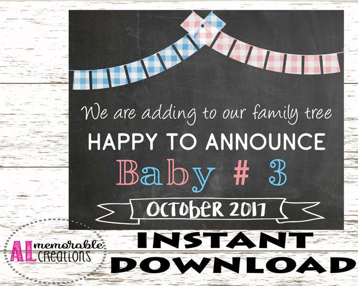 Pregnancy Announcement Photo Prop/Third Baby Announcement/Expecting Third Baby Sign/Dated October 2017/Pregnancy Chalkboard/Digital File by ALMemorableCreations on Etsy