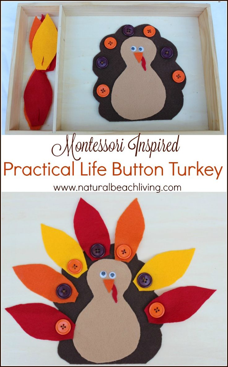 The Cutest Montessori Practical Life Button Turkey, Easy DIY Activity, Perfect for Preschoolers, Great Fall Busy Bag Ideas