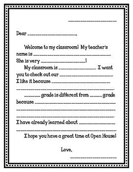 """Students can use this template to write a letter to their parents welcoming them to the classroom. This file includes a """"final draft"""" sheet so that students can copy the template into their own writing. Unfortunately it is not editable at this time."""