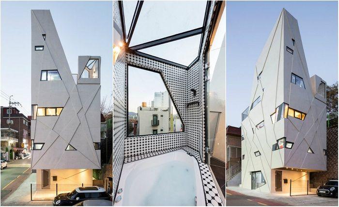 Архитектура: Нестандартная геометрия: дом с фасадом из «ломаных» линий http://kleinburd.ru/news/arxitektura-nestandartnaya-geometriya-dom-s-fasadom-iz-lomanyx-linij/  Присоединяйтесь к нам в Facebook и ВКонтакте Dogok Maximum — частный дом в Сеуле (Южная Корея). Очень часто, заказывая строительство того или иного дома, клиенты высказывают довольно необычные пожелания. Так, например, в известном районе Сеула Гангнам находится дом оригинальной формы. Дело в том, что заказчик имеет боязнь…