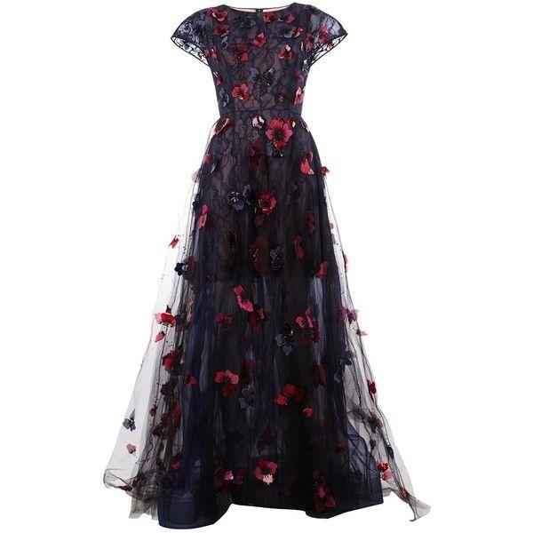 Oscar de la Renta Laced Gown (£11,240) ❤ liked on Polyvore featuring dresses, gowns, long dresses, oscar de la renta, vestidos, black, silk evening dresses, lace up front dress, multi color dress and lace up dress