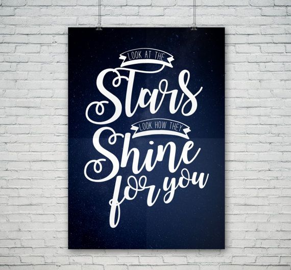 Download instantly from our shop! Look at the stars, Look how they shine for you. #coldplay #lyrics #song #yellow #songlyrics #poster #design #art #typography #typographic #lettering #stars #space #download #for #sale #bands