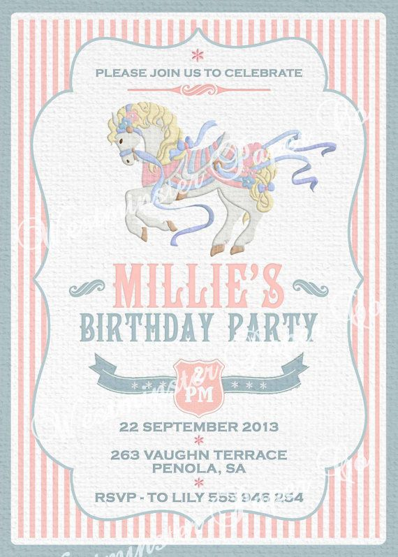 Carousel Invitation Girls Birthday Party 1st by WestminsterPaperCo, $20.00