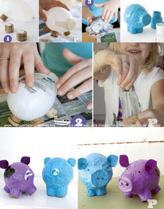 Los Cerditos de papel mache son baratos y muy fáciles de hacer. Podrían hacerse también, con globos blandes como moldes, de hecho los hicieron en otra ocasión. Llegaron a amar la sensación de manejar el pegamento, en esta ocasión harina...