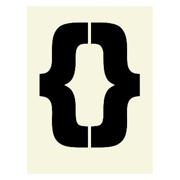 Philip Sheffield Kissing Brackets Typographic A2 Framed Print: Brackets typographic print in black & cream.  Kissing Bracket print by Philip Sheffield.