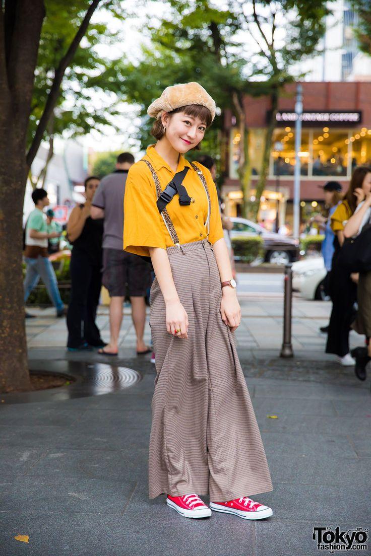 Retro Tokyo Street Style w/ Newsboy Cap, Leopard Suspenders, Wide Leg Pants & Ungrid Japan