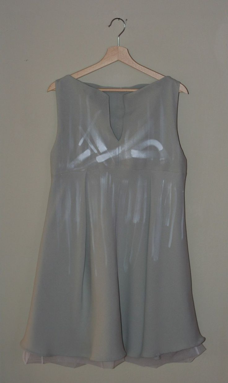 Silk dress with double middle fold, handmade fulfill and painted.