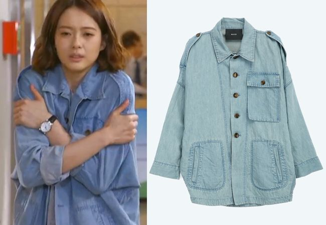 "Go Ara in ""You're All Surrounded"" Episode 9.  Beaker Denim Jacket with Dolman Sleeves #Kdrama #YoureAllSurrounded #너희들은포위됐다 #GoAra #고아라"