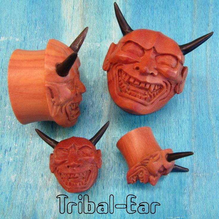 Piercing plugs hania sawo wood (1pc) ear plug Tribal Ear devil gauge tunnels