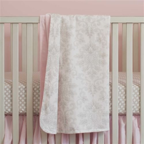 French Gray and Pink Damask Crib Blanket | Carousel Designs