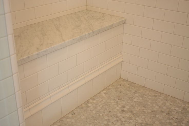 Walk in Shower Bench With Carrara Marble Slab Top amp
