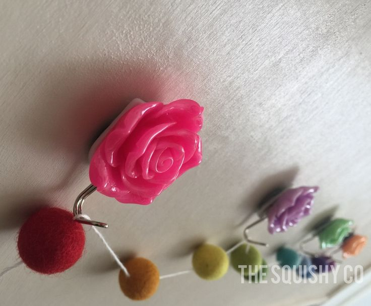 Image of Wall hooks - rainbow umbrellas, roses and banner/garland/bunting holders