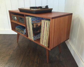 Great New Mid Century Modern Record Player Console, Turntable, Stereo Cabinet  With LP Album Storage. Sapele Mahogany With Natural Finish