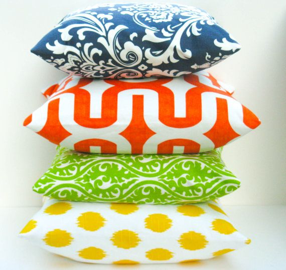 Throw Pillow Covers 18x18  Bright Pillow Lime Green by EastAndNest, $64.00