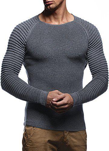 #LEIF NELSON Herren Strickpullover Pullover Sweatshirt LN20729; Grš§e M, Anthrazit, 04250863699262