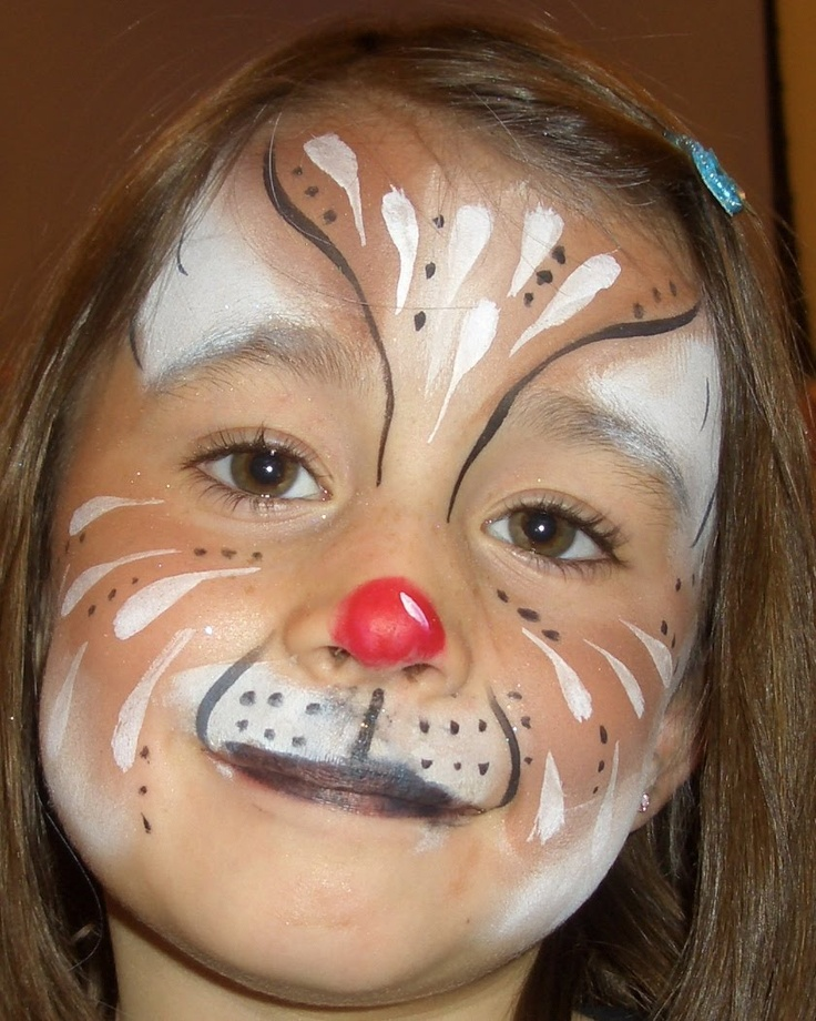 cat w/o the red nose face painting