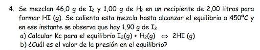 Ejercicio 4,P2, JUNIO 1999. Examen PAU de Química de Canarias. Tema: equilibrio.