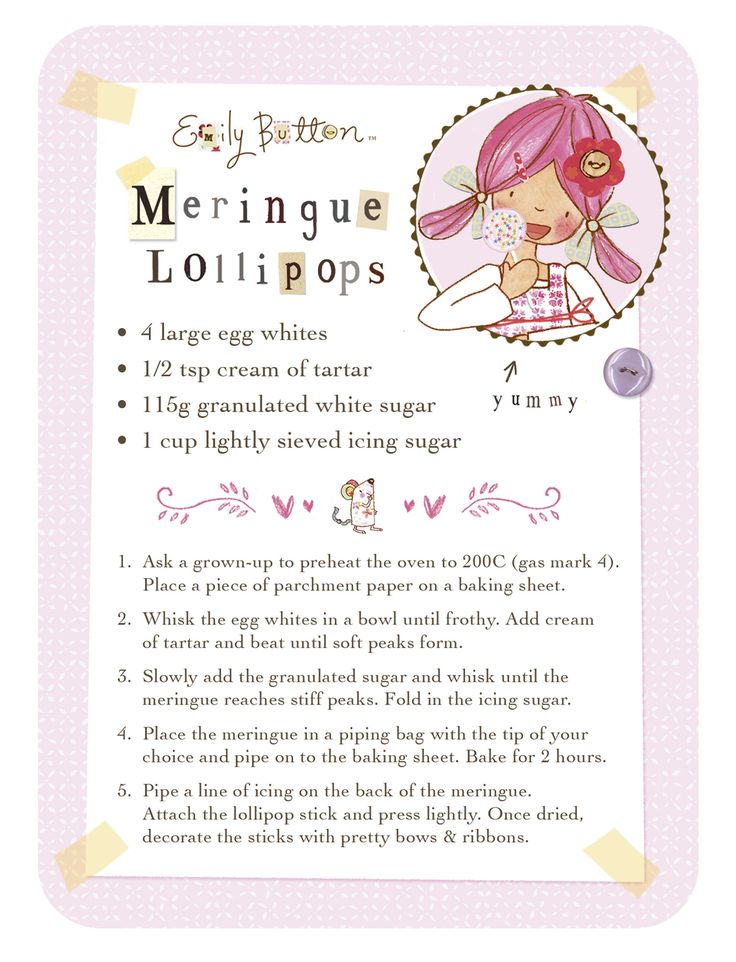Spend some time in the kitchen making meringue lollipops, you can make all sorts of shapes once you get the hang of the piping bag.