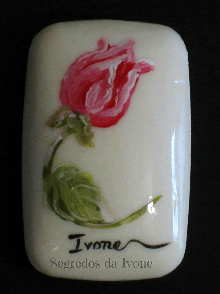 SA54-  Pintura em sabonete - motivo floral