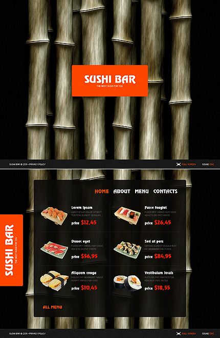 Sushi Bar Cafe and Restaurant SWiSH Template.