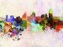 Horizon de Cincinnati à l'arrière-plan d'aquarelle Photos libres de droits
