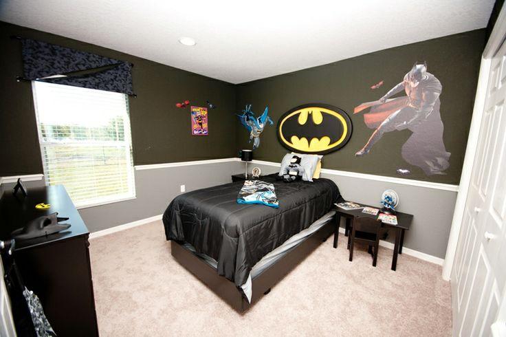 Na na na na na na na batman in this fun batman themed for Batman bedroom paint ideas