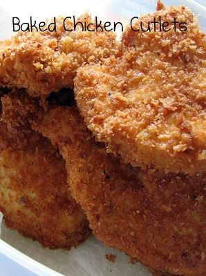 PromiseMe2....and A Lot About Food!: Chicken Cutlets (Baked, not Fried) -- mine didnt come out as pretty & brown but it was still pretty good. Plan to make again just with pork cutlets.