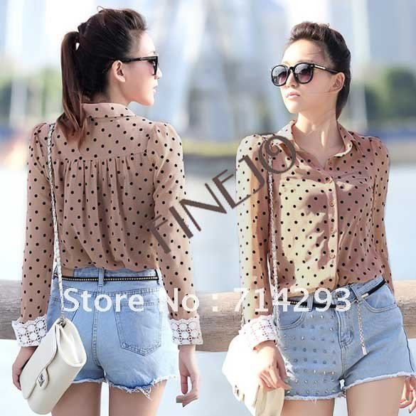 2 Color  Black/ Dark Pink and 2 Size New Women Career Charming Dots Chiffon Blouse Long Sleeve Shirt  free shipping 7658 $13.46