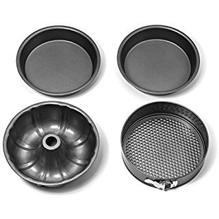 Elite Kitchenware 4 Piece Nonstick Cake Pans Set with 9 Inch Round Cake Pans, 9 Inch Spring form Cake Pan and 10 Inch Bundt Cake Pan
