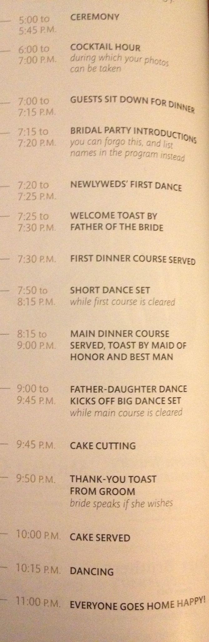 Martha Stewart wedding time line