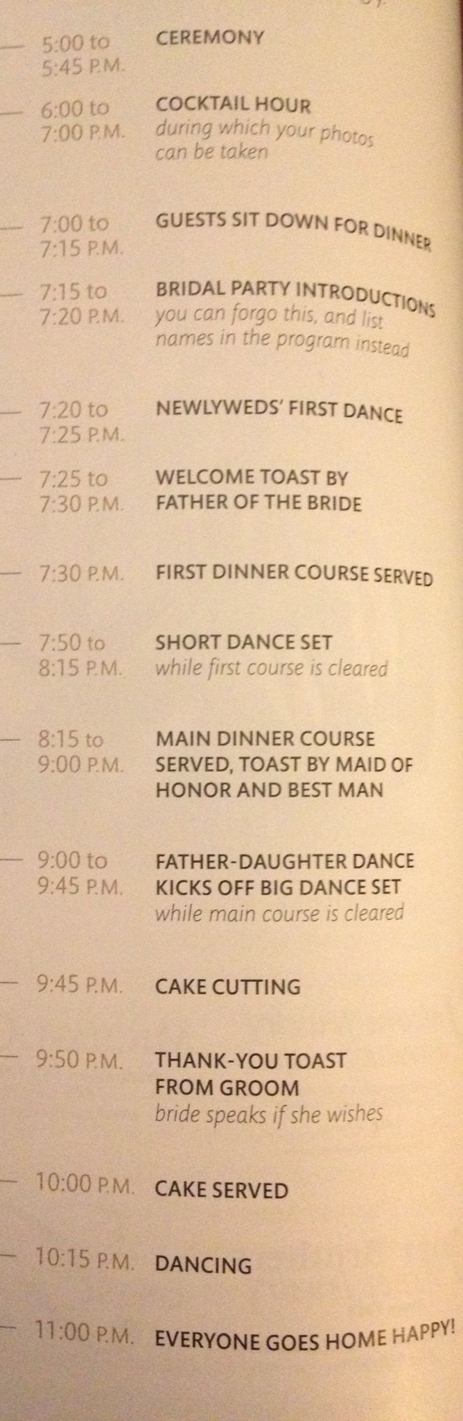 Martha Stewart wedding time line