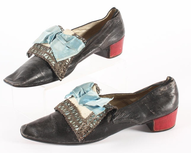 Red heels indicates the wearer had been presented at Court. A pair of mid 18th century gentleman's shoes.