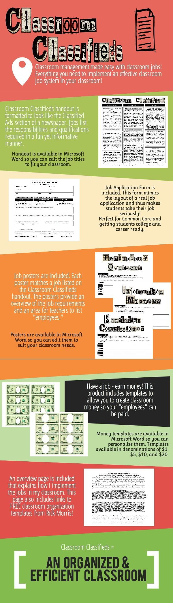 Classroom Classifieds  A fun way to introduce classroom jobs into upper elementary and middle school classrooms. Includes a Classified Ads job page, job application, job posters, and editable class currency. Adding this level of organized responsibility is great classroom management tool!