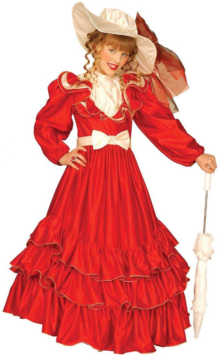 Déguisement marquise fille  : Ce déguisement de marquise se compose d'une robe rouge à volants et manches longues bouffantes, d'une ceinture beige avec un nœud papillon et d'un chapeau assorti effet satiné et avec voilage...