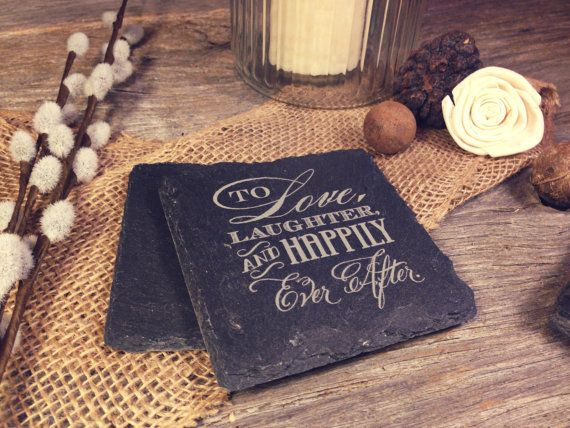 Slate Wedding Coasters w/Happily Ever After Design by OTBengraving